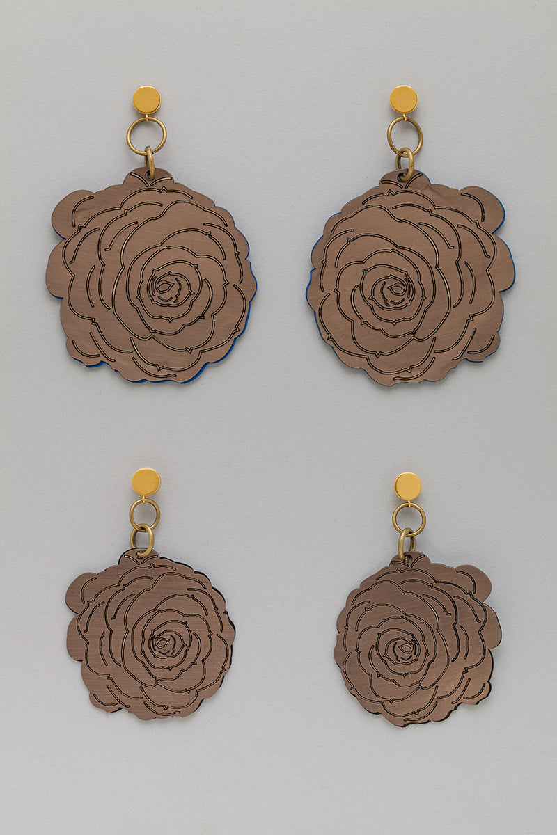 Double Sided Flower Earrings in Matte Bronze look