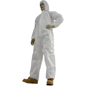 COVERALLS, SMS, WITH HOOD, ELASTIC WRIST & BACK