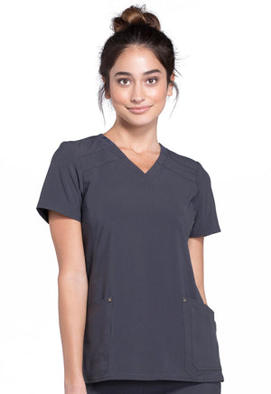 CK680 Cherokee iFlex Mock Wrap Knit Panel Top