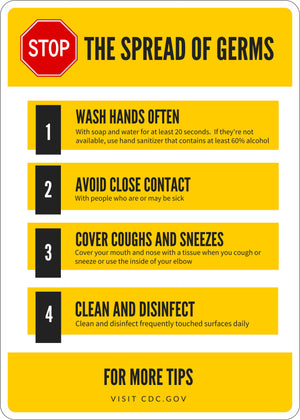 CDC Stop the Spread of Germs – Germ and Virus Prevention Sign