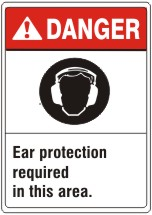 EAR PROTECTIOIN REQUIRED IN THIS AREA. EAR PROTECTION PICTO – DANGER SIGN