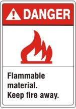 ANSI HEADER FLAMMABLE MATERIAL. KEEP FIRE AWAY. WITH PICTO – DANGER SIGN