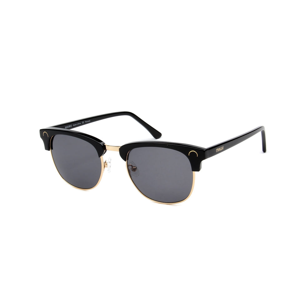 Cannes Jet Black - Angle View - Grey lens - Mawu Sunglasses