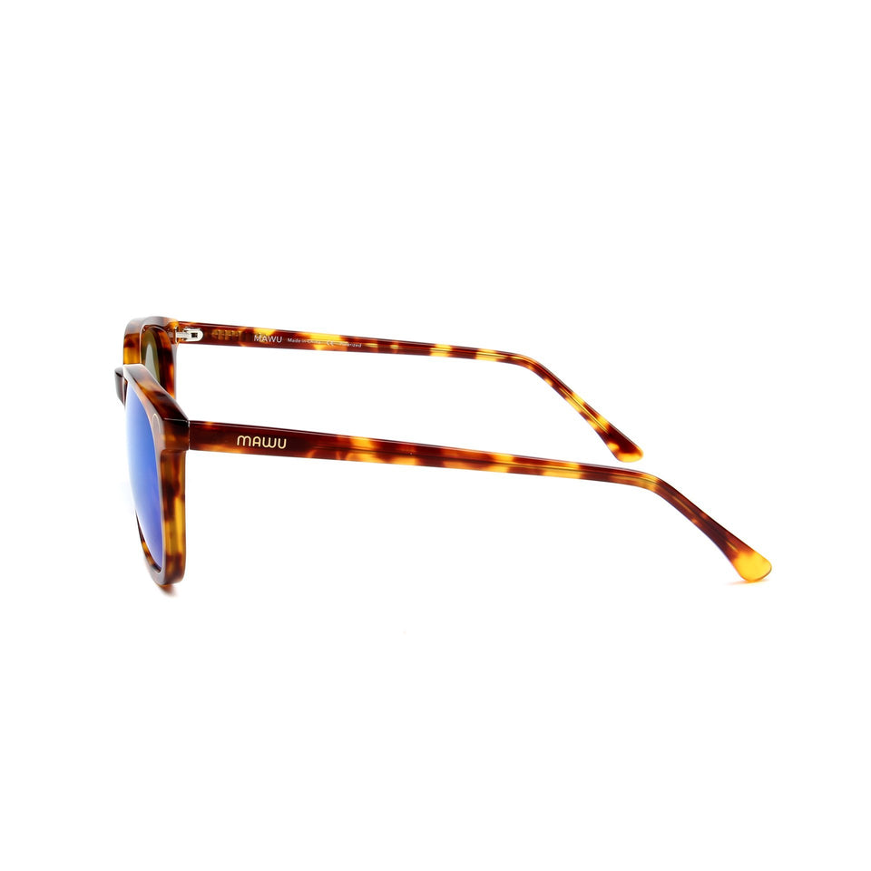Hendaye Tortoise - Side View - Blue Mirror lens - Mawu Sunglasses
