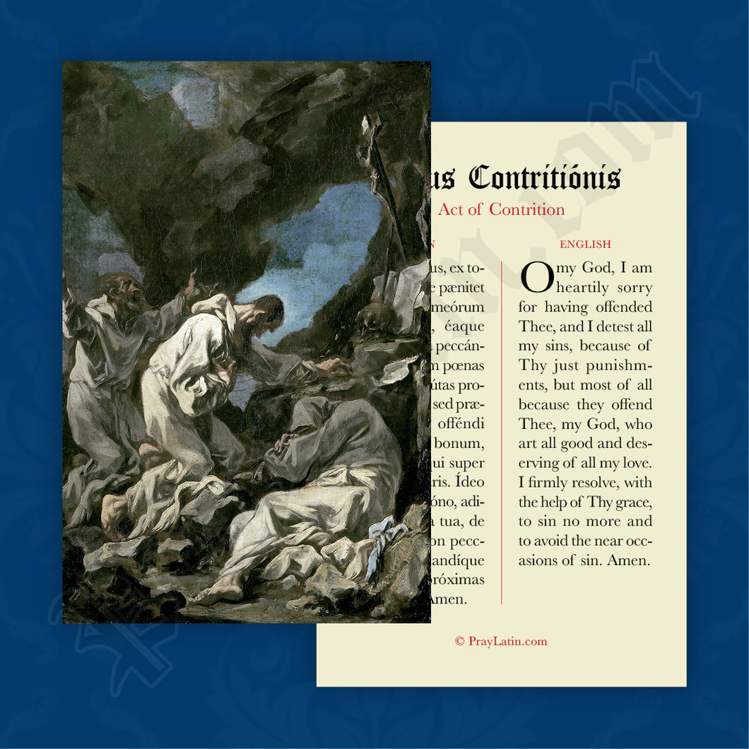 Act of Contrition Prayer Card in Latin and English