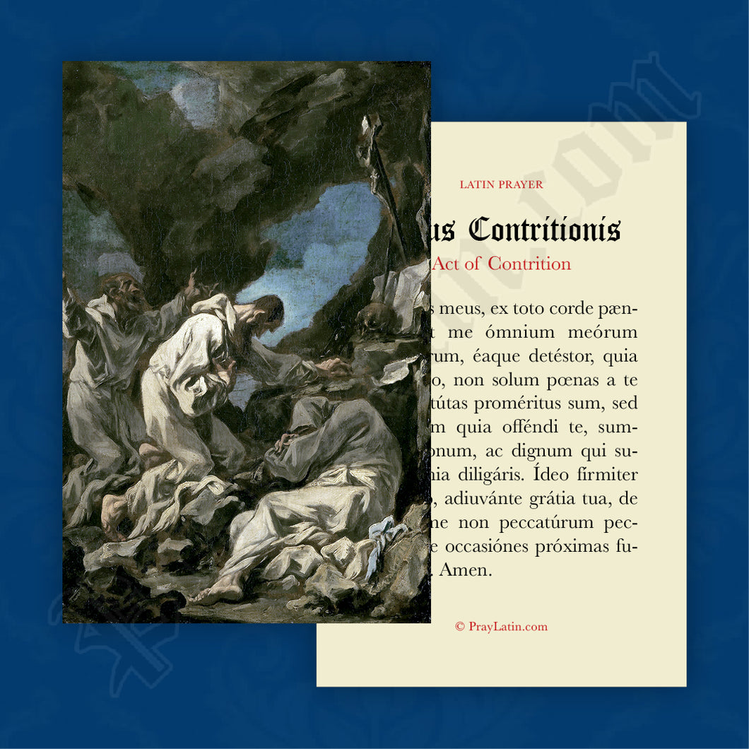 Act of Contrition Prayer Card in Latin