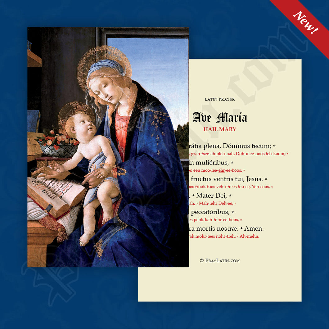 Ave Maria Prayer Card with Pronunciation Guides