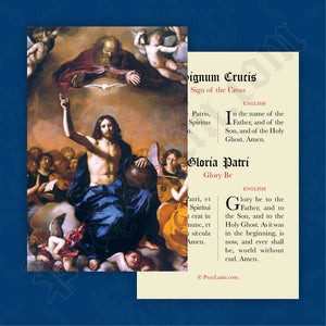 Sign of the Cross & Glory Be Prayer Card in Latin and English