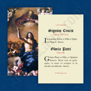 Sign of the Cross & Glory Be Prayer Card in Latin