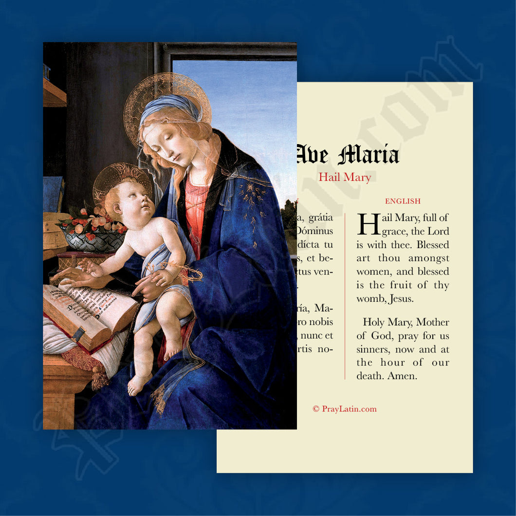 Hail Mary Prayer Card in Latin and English