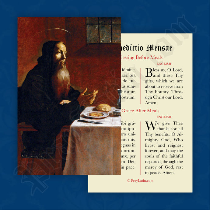 Meal Blessing Prayer Card in Latin and English