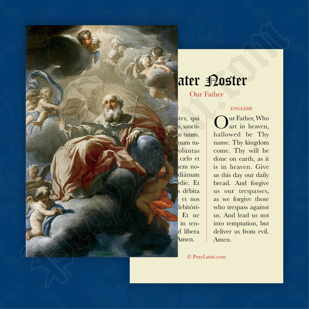 Our Father Prayer Card in Latin and English