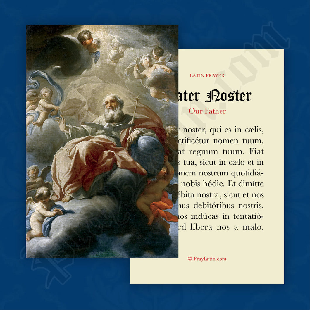 Our Father Prayer Card in Latin