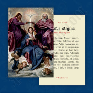 Hail, Holy Queen Prayer Card in Latin
