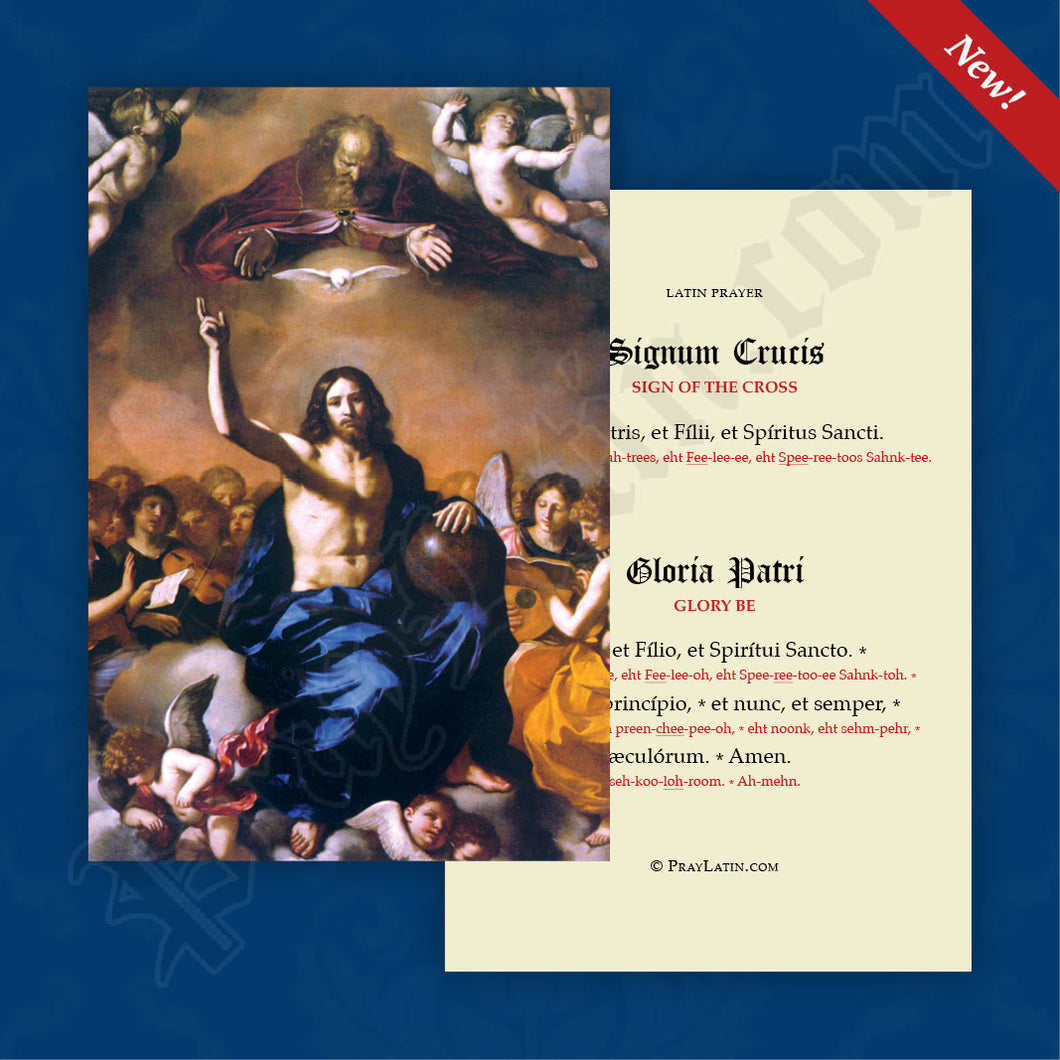 Signum Crucis & Gloria Patri Prayer Card with Pronunciation Guides