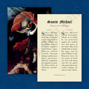 St. Michael Prayer Card in Latin and English