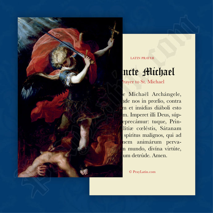 St. Michael Prayer Card in Latin