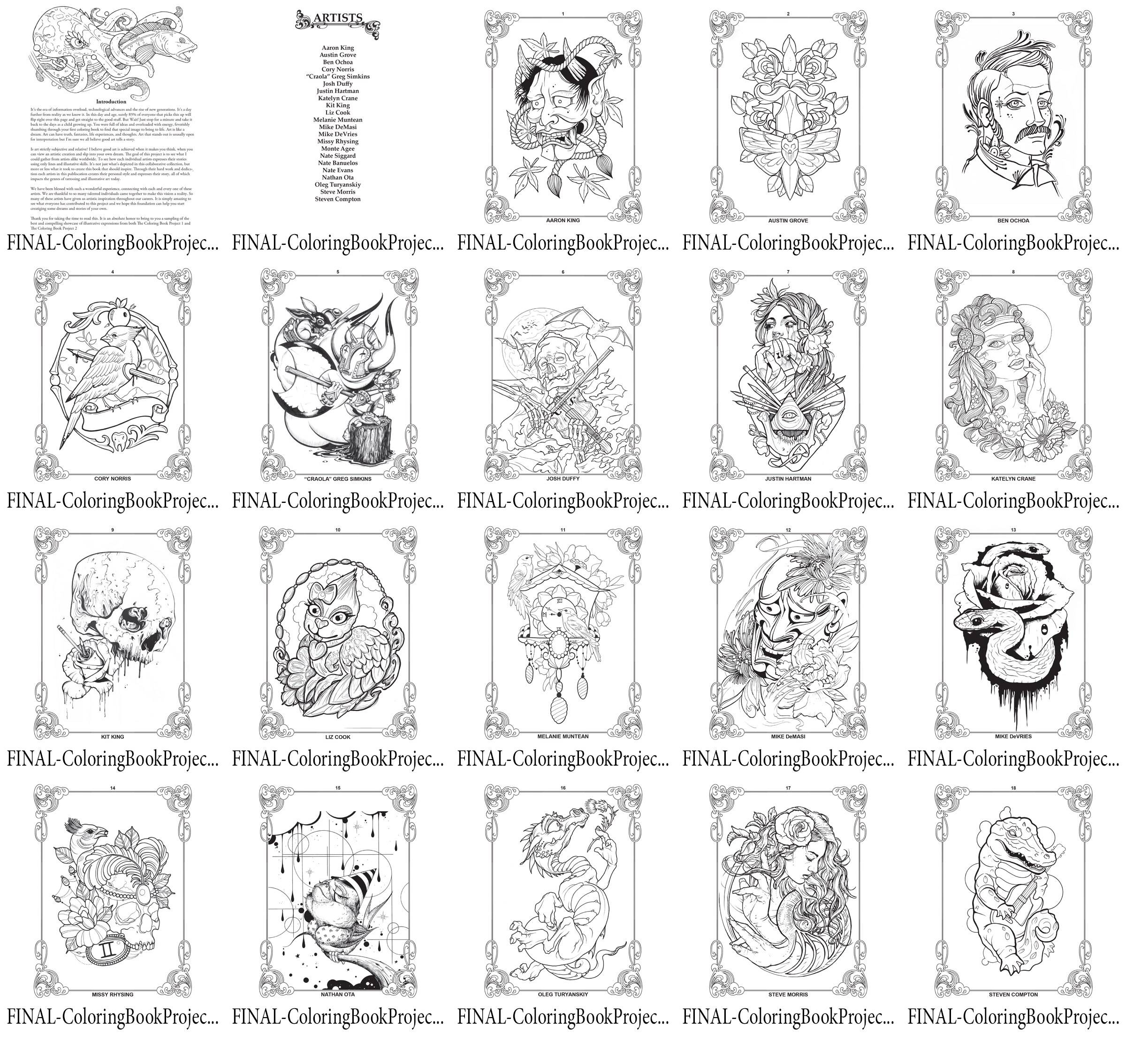 Digital Download - Coloring Book Project 2 (18 Page Collection)