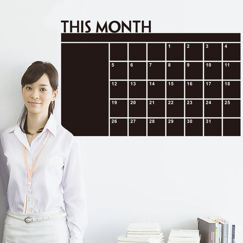 Fashion Designed Removed Vinyl Monthly Calendar Blackboard Wall Sticker Black Color Wall Sticker House Decoration Wall Decoration A - Raylinedo