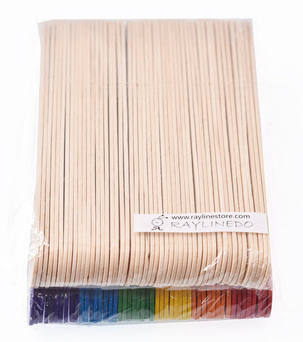 100pcs Wooden Ice Cream Stick Lollipop Popsicle Stick 11.4 x 1 x 0.2cm Natural color and Multicoloured - Raylinedo
