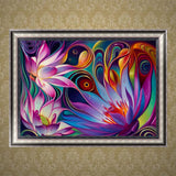 DIY 5D Diamond Painting, Full Drill - Lotus, Diamond Embroidery Pictures Arts Craft For Home Wall Decoration - Raylinedo