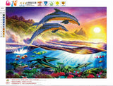DIY 5D Diamond Painting, Dolphin, Diamond Embroidery Pictures Arts Craft For Home Wall Decoration - Raylinedo