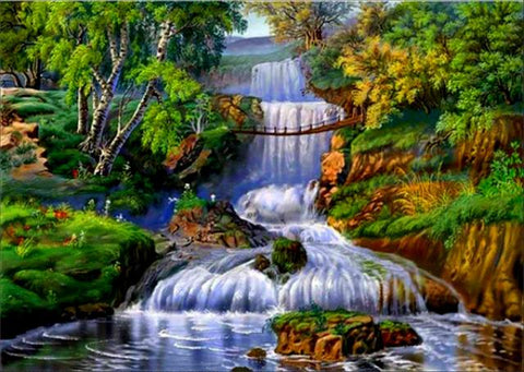 DIY 5D Diamond Painting, Waterfall, Diamond Embroidery Pictures Arts Craft For Home Wall Decoration - Raylinedo