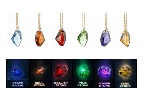 Marvel Hero Pursuit Infinity Stones Space Stone Soul Stone Reality Stone Time Stone Power Stone Mind Stone SWAROVSKI Crystal Charms With Copper Plated Necklace - Raylinedo