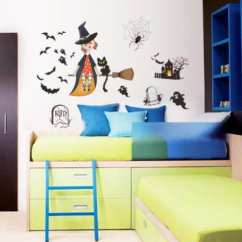 Happy Halloween Fashion Designed Removed Vinyl Wall Sticker House Decoration Wall Decoration E - Raylinedo