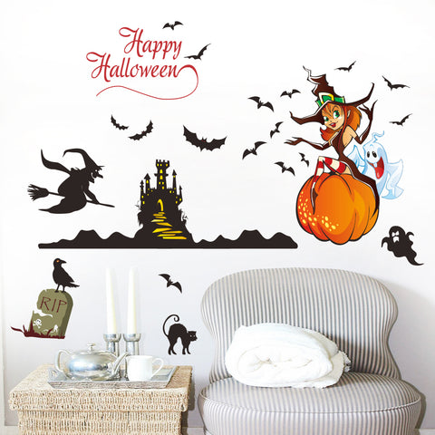 Happy Halloween Fashion Designed Removed Vinyl Wall Sticker House Decoration Wall Decoration G - Raylinedo