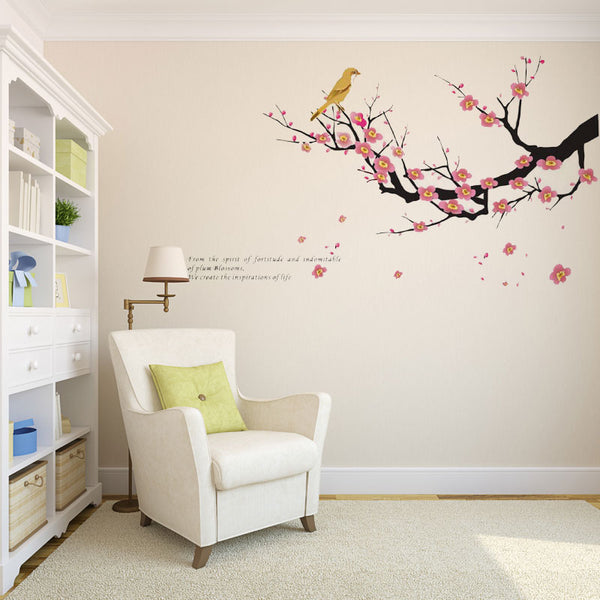 Bird And Plum Removable Wall Stickers Window Sticker Art Decals Mural DIY Wallpaper for Room Decal 60*100CM - Raylinedo