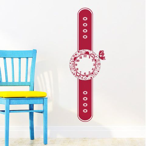 Red Watch Clock Removable Wall Stickers Window Sticker Art Decals Mural DIY Wallpaper for Room Decal - Raylinedo
