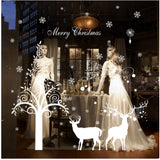 Merry Christmas The Deers And Christmas Tree Removable Wall Stickers Window Sticker Art Decals Mural DIY Wallpaper for Room Decal White Color 115*82CM - Raylinedo