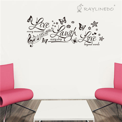 Live Love Laugh with Butterfly Removable Wall Stickers Window Sticker Art Decals Mural DIY Wallpaper for Room Decal 103cm*42CM - Raylinedo