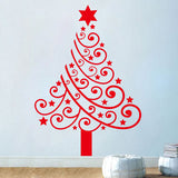 Merry Christmas The Red Christmas Tree Removable Wall Stickers Window Sticker Art Decals Mural DIY Wallpaper for Room Decal 42*60CM - Raylinedo
