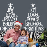 Merry Christmas The Joy Love Peace Christmas Tree Removable Wall Stickers Window Sticker Art Decals Mural DIY Wallpaper for Room Decal White Color 77*57CM - Raylinedo