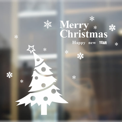 Merry Christmas The White Christmas Tree And a Happy New Year Removable Wall Stickers Window Sticker Art Decals Mural DIY Wallpaper for Room Decal 119*106CM - Raylinedo