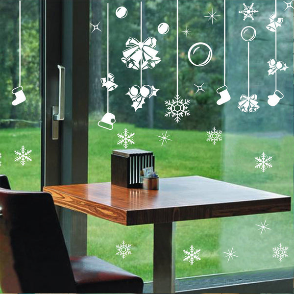 Merry Christmas Removable Wall Stickers Window Sticker Art Decals Mural DIY Wallpaper for Room Decal White Color 119*89CM - Raylinedo