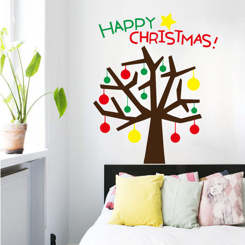 Merry Christmas The Colorful Christmas Tree Removable Wall Stickers Window Sticker Art Decals Mural DIY Wallpaper for Room Decal 120*145CM - Raylinedo