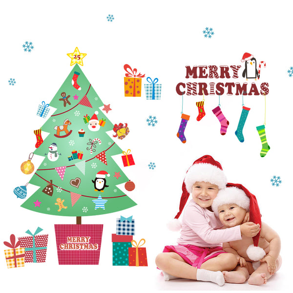 Merry Christmas Fashion Designed Removed Vinyl Wall Sticker Happy New Year Wall Sticker House Decoration Wall Decoration 7 - Raylinedo