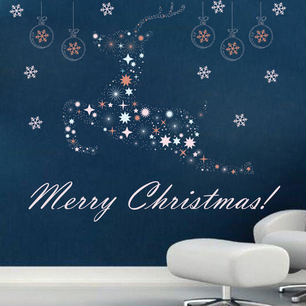 Merry Christmas Fashion Designed Removed Vinyl Wall Sticker Happy New Year Wall Sticker House Decoration Wall Decoration 13 - Raylinedo
