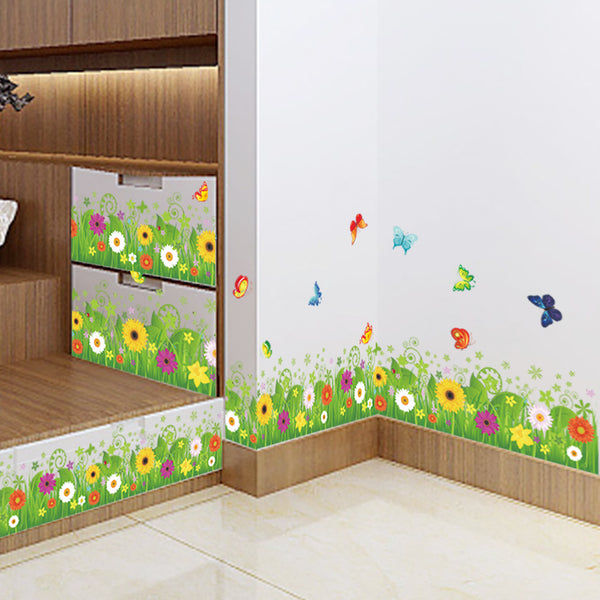 Beautiful Flowers with Grass and Butterfly Art Wall Stickers And Decals Fashion Design DIY Wall Decoration Removable Wall Paper Mural For House Home Babyroom Living Room Decoration - Raylinedo