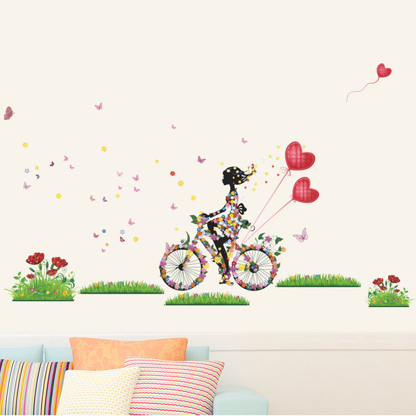 Beautiful Flowers Grass Butterfly With a Girl Riding Bike Art Wall Stickers And Decals Fashion Design DIY Wall Decoration Removable Wall Paper Mural For House Home Babyroom Living Room Decoration - Raylinedo