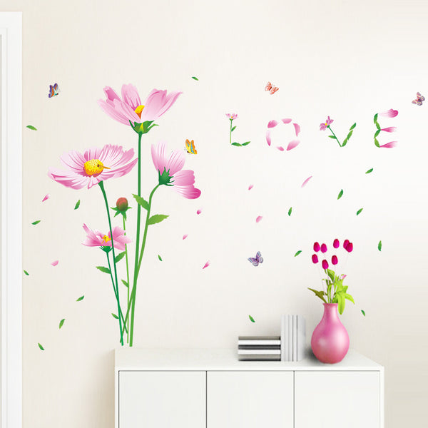 "Beautiful Flowers with Words ""LOVE"" Art Wall Stickers And Decals Fashion Design DIY Wall Decoration Removable Wall Paper Mural For House Home Babyroom Living Room Decoration - Raylinedo"