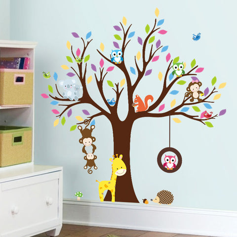 Animal and Tree Removable Wall Stickers Window Sticker Art Decals Mural DIY Wallpaper for Room Decal 108*109CM - Raylinedo