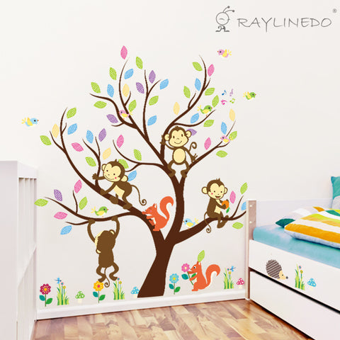Animal and Tree Removable Wall Stickers Window Sticker Art Decals Mural DIY Wallpaper for Room Decal 110*91CM - Raylinedo