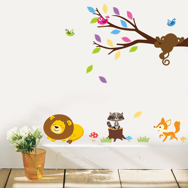 Animal and Tree Removable Wall Stickers Window Sticker Art Decals Mural DIY Wallpaper for Room Decal 96*68CM - Raylinedo