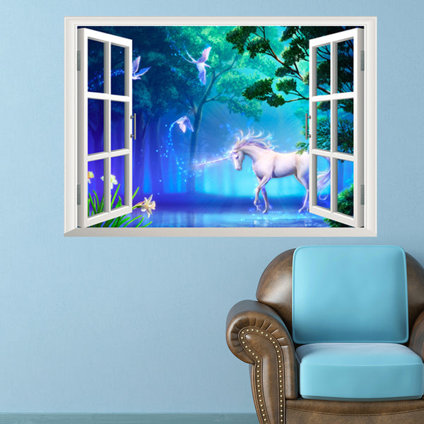 Unicorn Removable Wall Stickers Window Sticker Art Decals Mural DIY Wallpaper for Room Decal-A - Raylinedo