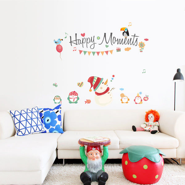 Happy Moments Fashion Designed Removed Vinyl Wall Sticker Lovely Snow Man Nursery Wall Sticker House Decoration Wall Decoration - Raylinedo