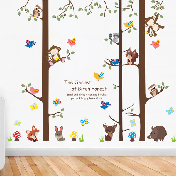 Beautiful Animals Fashion Designed Removed Vinyl Wall Sticker The Secret Of Birch Forest Wall Sticker House Decoration Wall Decoration - Raylinedo